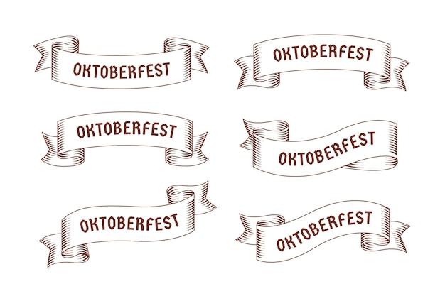 Nastri più oktoberfest disegnati a mano Vettore Premium