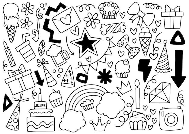 Insieme di buon compleanno doodle partito disegnato a mano Vettore Premium