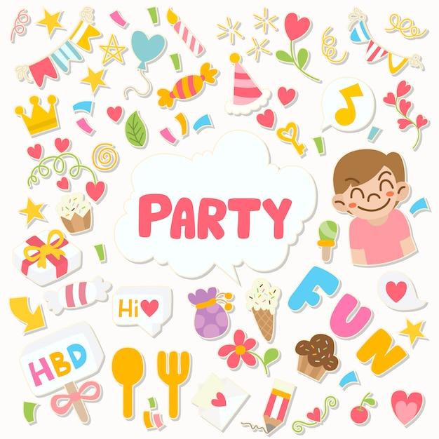 Buon compleanno di doodle festa disegnata a mano Vettore Premium