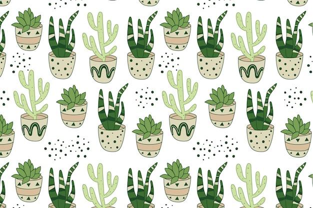 Modello di cactus modello disegnato a mano Vettore Premium