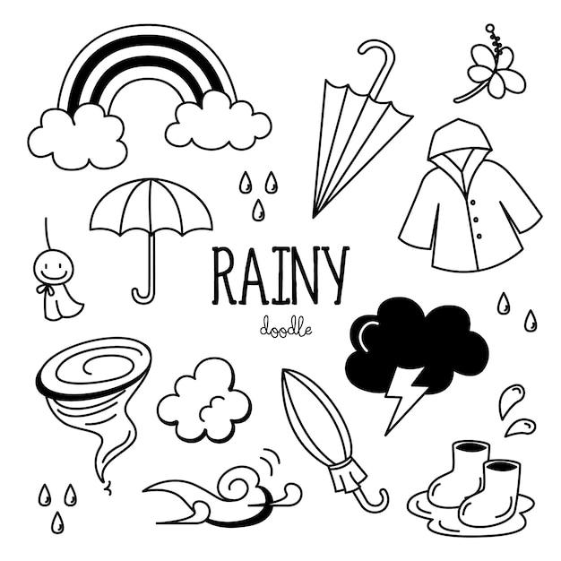 Insieme di scarabocchi di giorno piovoso disegnato a mano Vettore Premium