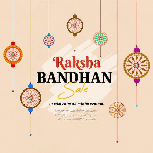 Vendite disegnate a mano di raksha bandhan Vettore Premium