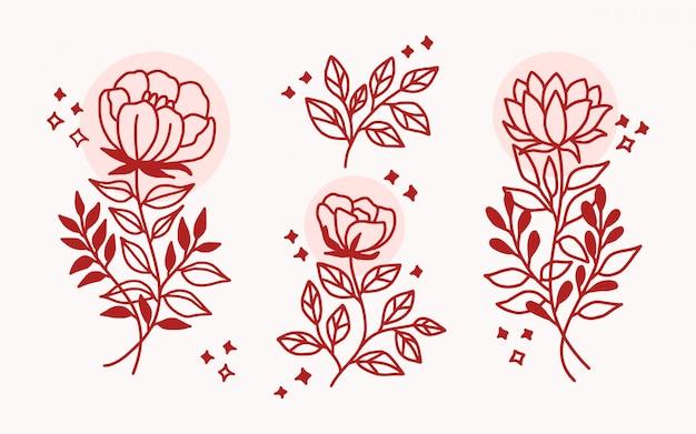 Collezione di elementi floreali disegnati a mano realistica primavera ramo, ramo e foglia logo Vettore Premium