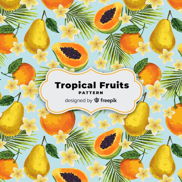 Modello di frutta tropicale realistico disegnato a mano Vettore Premium