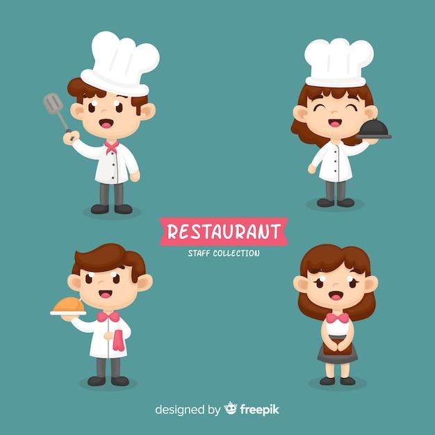 Collezione di dipendenti del ristorante disegnato a mano Vettore Premium