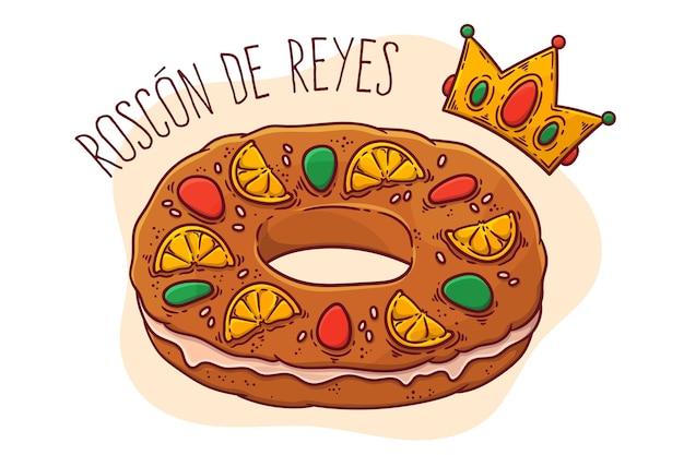 Roscon de reyes disegnato a mano Vettore Premium