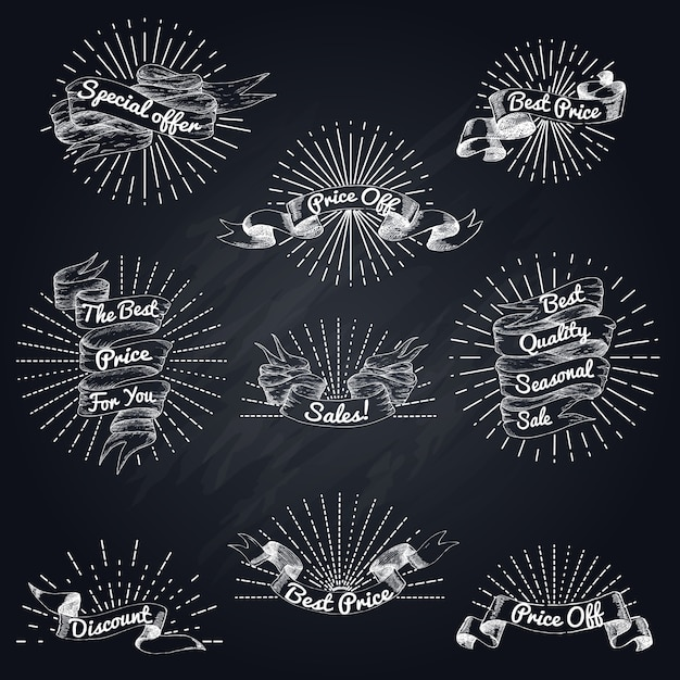 Set di nastri in vendita disegnati a mano Vettore Premium