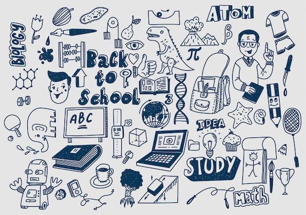 Disegnati a mano scketchy materiale scolastico scarabocchi apprendimento ed educazione Vettore Premium