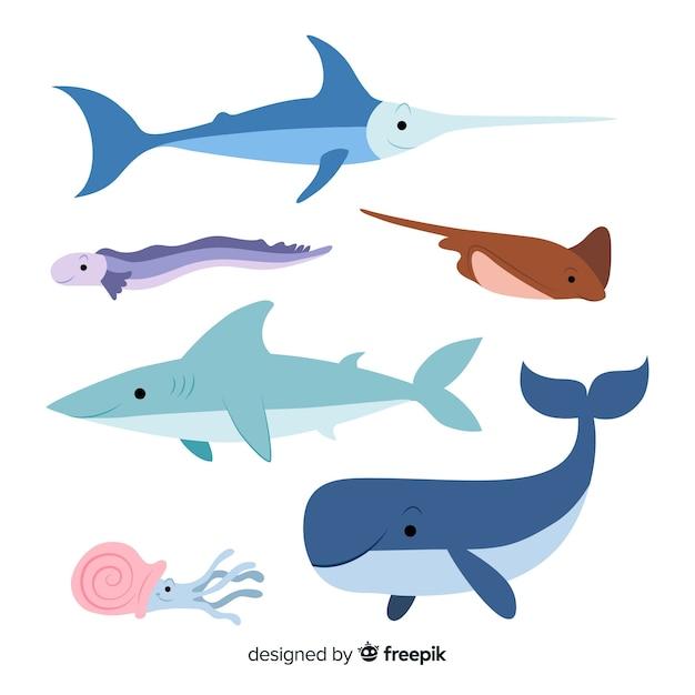 Collezione di animali marini disegnati a mano Vettore Premium