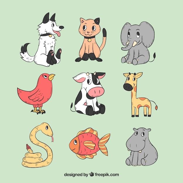 Disegnato a mano insieme di animali di cartone animato Vettore Premium
