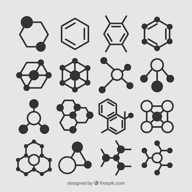 Serie disegnata a mano di molecole Vettore Premium