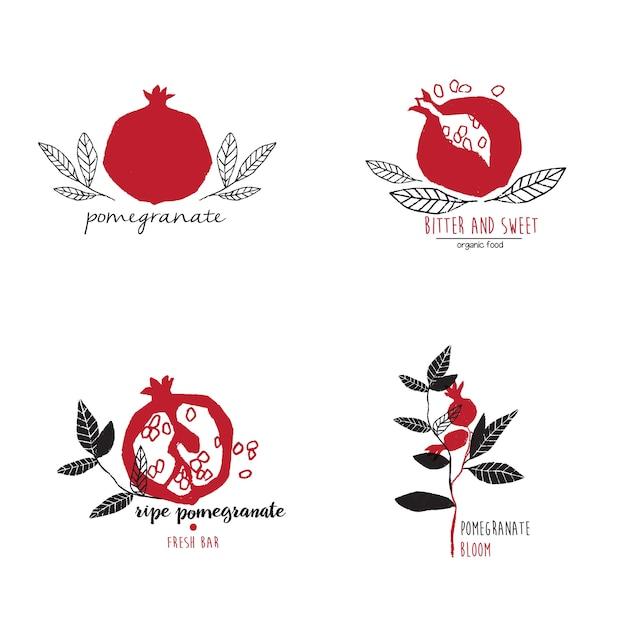Insieme disegnato a mano di modelli di logo di melograno Vettore Premium