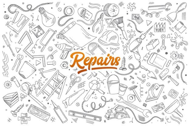 Insieme disegnato a mano di strumenti di riparazioni scarabocchi con scritte Vettore Premium