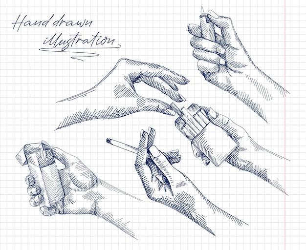 Insieme disegnato a mano di schizzi di una mano di donna che tiene e brucia una sigaretta, mani femminili che ottengono una sigaretta dal pacchetto di sigarette, mano che tiene un accendino. mano femminile che accende un accendino. Vettore Premium