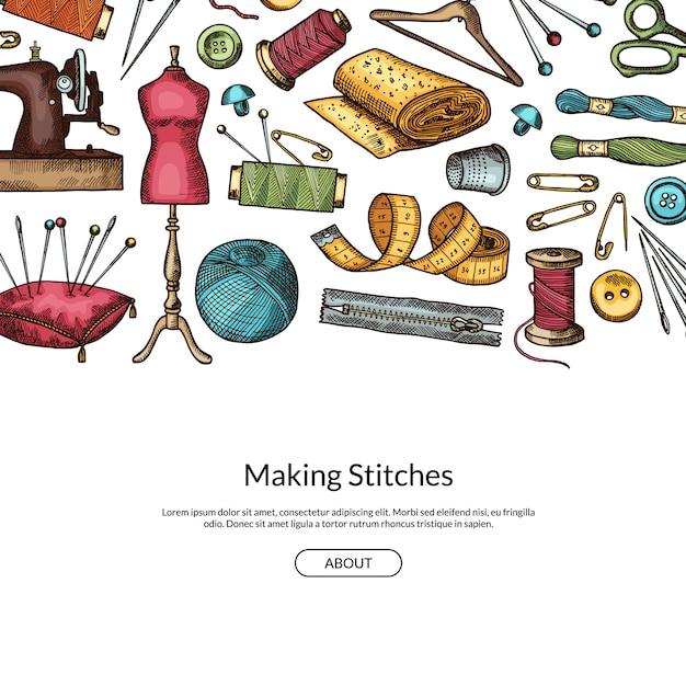 Illustrazione di sfondo disegnato a mano elementi da cucire con posto per testo Vettore Premium