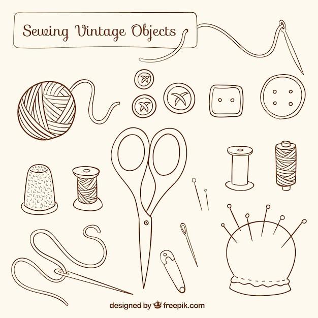 Oggetti da cucire d'epoca disegnati a mano Vettore Premium