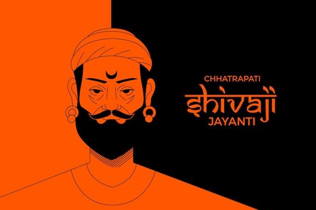 Shivaji jayanti illustrazione disegnata a mano Vettore Premium