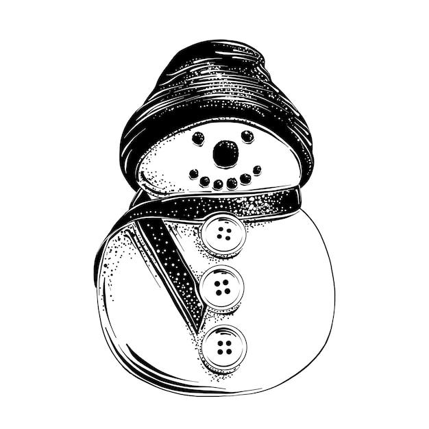 Schizzo disegnato a mano del pupazzo di neve di natale in nero Vettore Premium