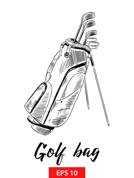 Schizzo disegnato a mano della sacca da golf in nero Vettore Premium