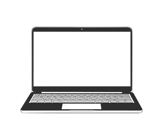 Schizzo disegnato a mano del computer portatile in bianco e nero Vettore Premium