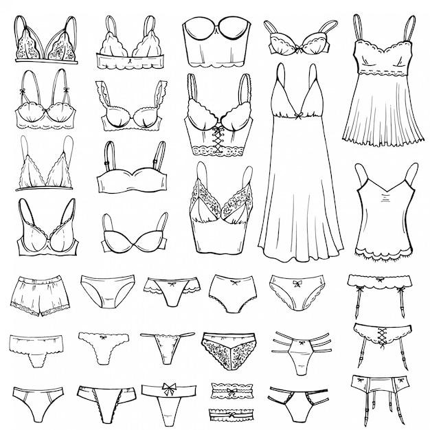 Schizzo disegnato a mano set di lingerie. Vettore Premium