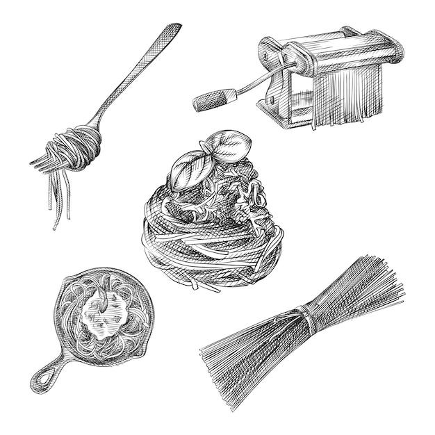 Schizzo disegnato a mano del set di pasta e spaghetti. spaghetti arrotolati su una forchetta, spaghetti su una padella, spaghetti crudi, macchina per fare la pasta Vettore Premium
