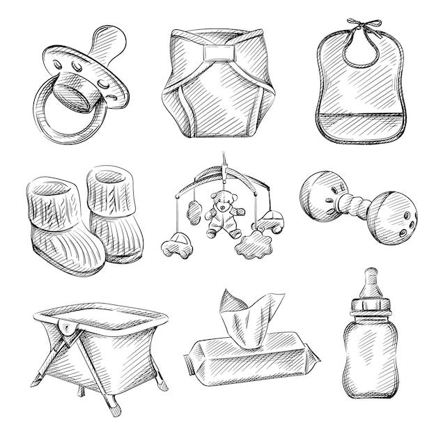 Insieme di schizzo disegnato a mano di articoli per neonati e bambini. Vettore Premium