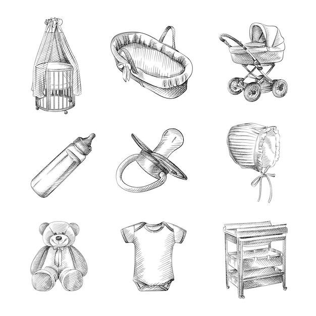 Schizzo disegnato a mano del set per un neonato. passeggino, culla, culla, orsacchiotto, cappello di cotone, tuta a maniche corte, culla, fasciatoio, bottiglia con ciuccio Vettore Premium