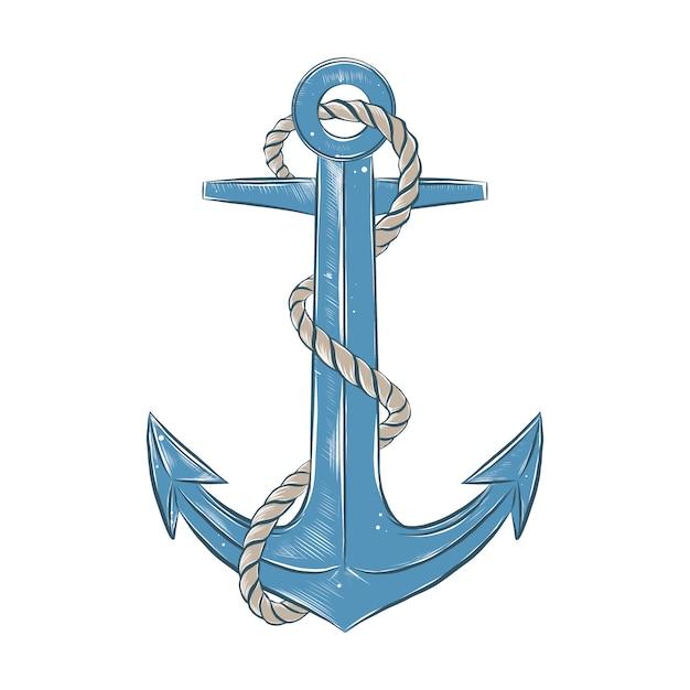 Schizzo disegnato a mano dell'ancoraggio della nave con la corda Vettore Premium