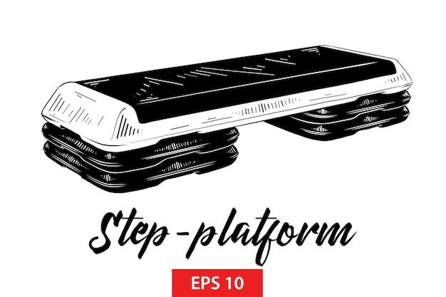 Schizzo disegnato a mano della piattaforma a gradini in nero Vettore Premium