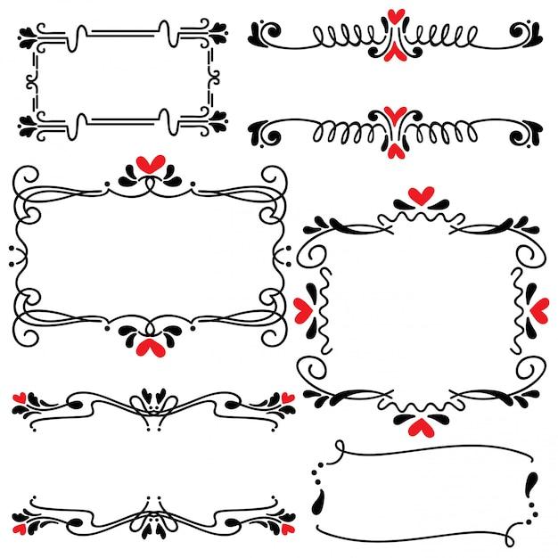 Illustrazione disegnata a mano di vettore di arte di nozze del confine della linea disegnata a mano Vettore Premium