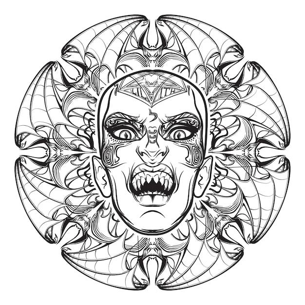 Opere d'arte abbozzate disegnate a mano dell'aspetto spaventoso del demone babilonese di lilith della notte. Vettore Premium