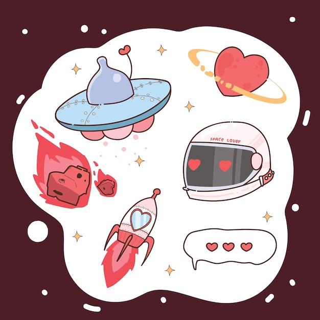 Insieme di elementi di san valentino spazio disegnato a mano. Vettore Premium