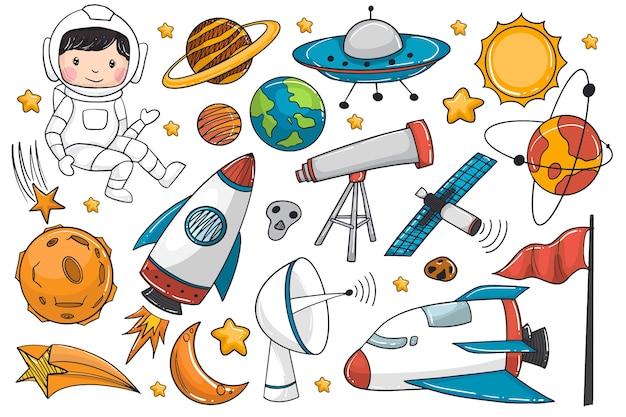 Set di astronave e astronauta disegnati a mano Vettore Premium