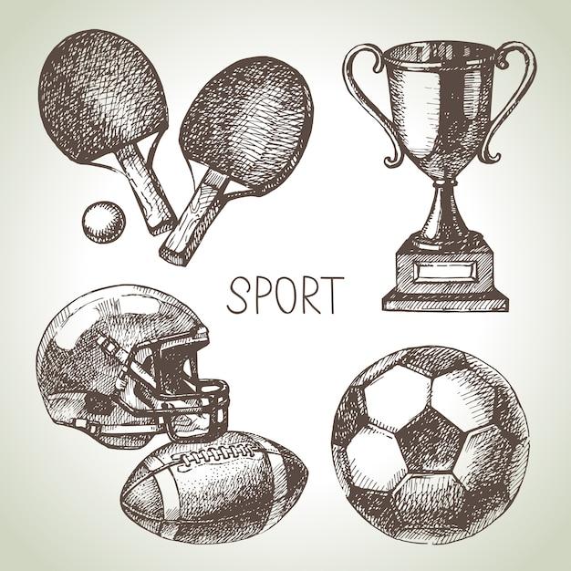Set sportivo disegnato a mano. sfere di sport di schizzo. illustrazione Vettore Premium