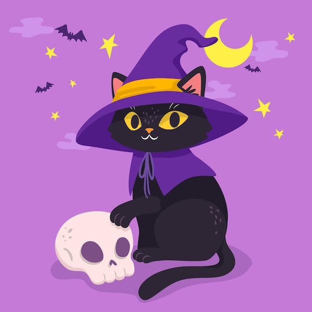 Gatto di halloween stile disegnato a mano Vettore Premium
