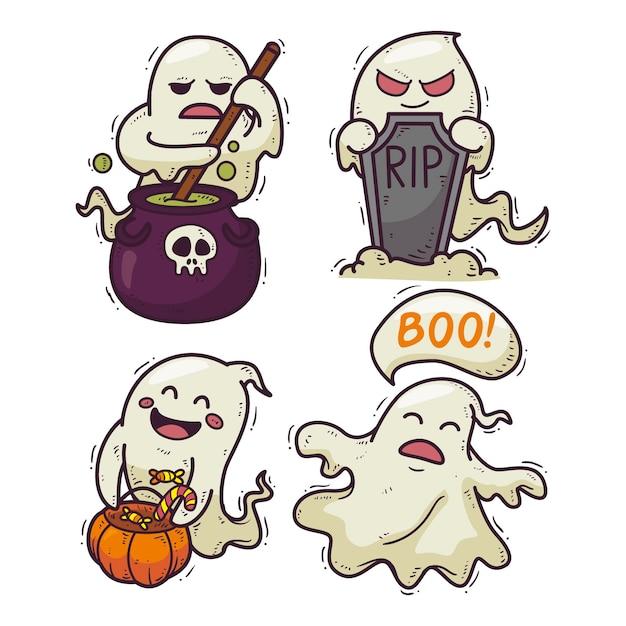 Collezione di fantasmi di halloween stile disegnato a mano Vettore Premium