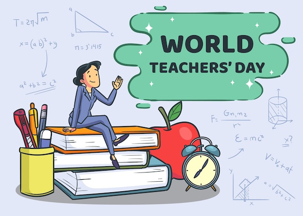 Evento del giorno degli insegnanti di stile disegnato a mano Vettore Premium