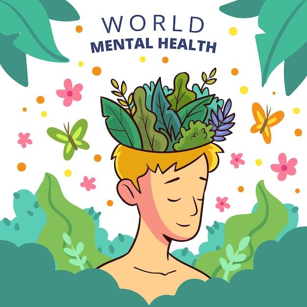 Giornata mondiale della salute mentale in stile disegnato a mano Vettore Premium