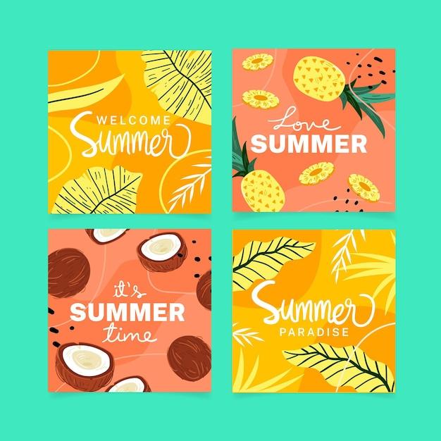 Collezione di carte estate disegnata a mano Vettore Premium