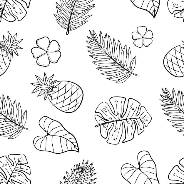 Elementi disegnati a mano di estate nel modello senza cuciture su fondo bianco Vettore Premium