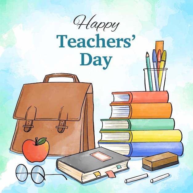 Concetto di giorno degli insegnanti disegnati a mano Vettore Premium