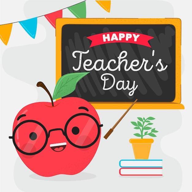 Giornata degli insegnanti disegnati a mano con la mela Vettore Premium