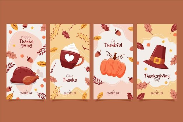 Storie di instagram di ringraziamento disegnate a mano Vettore Premium