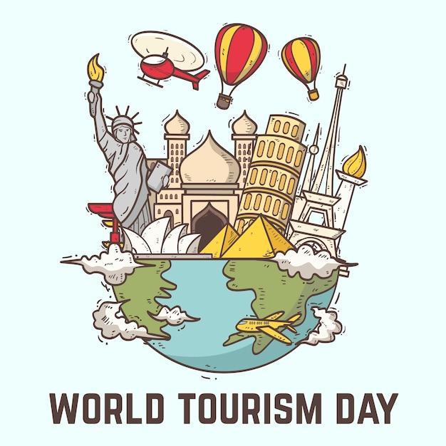 Concetto di giorno del turismo disegnato a mano Vettore Premium