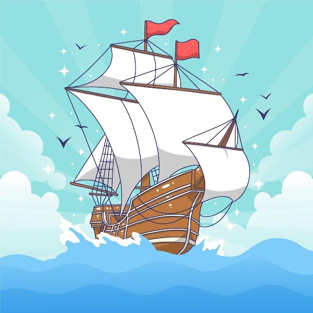 Nave pirata tradizionale disegnata a mano Vettore Premium