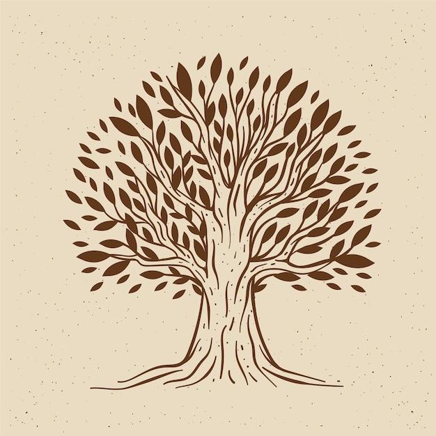 Vita dell'albero disegnato a mano Vettore Premium