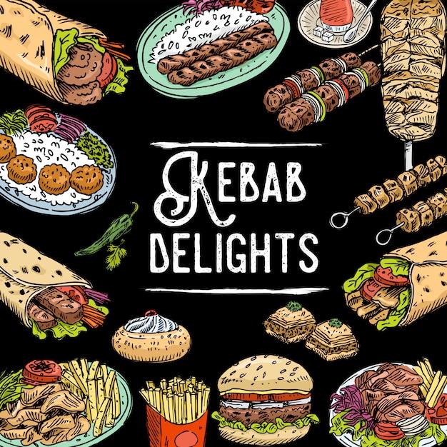 Sfondo di cibo turco disegnato a mano Vettore Premium