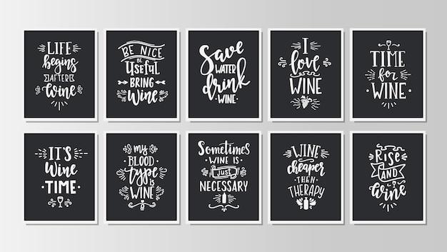 Set di poster di tipografia disegnati a mano. Vettore Premium
