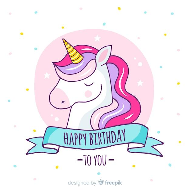 Fondo di compleanno unicorno disegnato a mano Vettore Premium